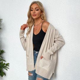 Autumn And Winter Women's Loose Long-sleeved Knitted Cardigan With Pockets Nihaostyles Wholesale Clothing  NSYSQ79822