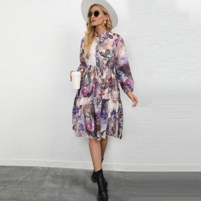 Floral Print Long Sleeve Short Dress Nihaostyles Wholesale Clothing NSJC80889