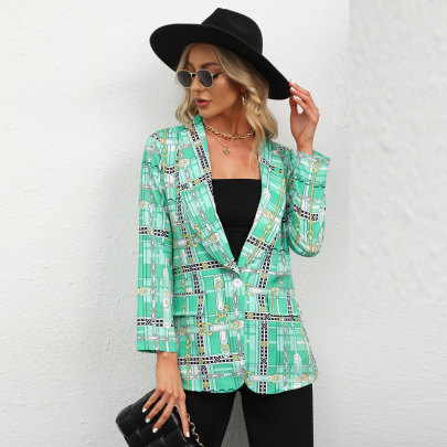 Women's V-neck Print Lapel Blazer Nihaostyles Wholesale Clothing NSJC80887