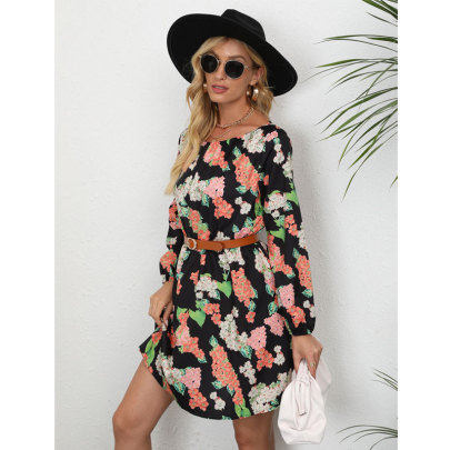 Floral Print Long Sleeve Cusual Dress Nihaostyles Wholesale Clothing NSJC80896