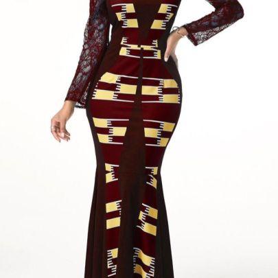Round Neck Lace Stitching Printing Dress Nihaostyles Clothing Wholesale NSYSY80879