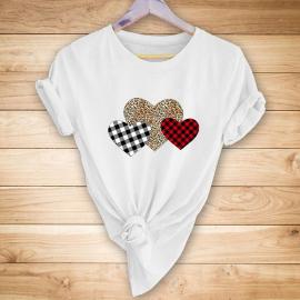 Three Loving Hearts Printing Short-sleeved T-shirt Nihaostyles Wholesale Clothing NSYAY80877