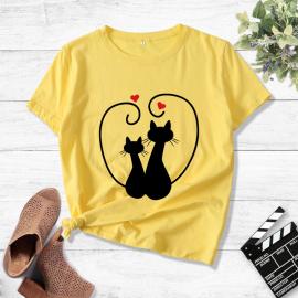 Two Cats Loving Heart Printed Short-sleeved T-shirt Nihaostyles Wholesale Clothing NSYAY80875