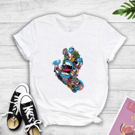 Cartoon Graffiti Print Short-sleeved T-shirt Nihaostyles Wholesale Clothing NSYAY80865