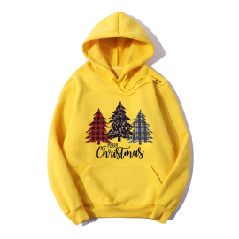 Christmas Tree Letter Print Long Sleeve Fleece Hooded Sweatershirt Nihaostyles Wholesale Christmas Costumes NSYAY80863