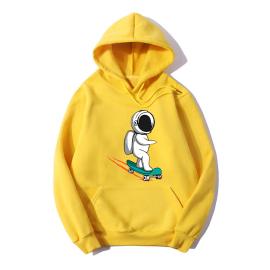 Spaceman Print Plus Velvet Hooded Sweatshirt Nihaostyles Wholesale Clothing NSYAY80788