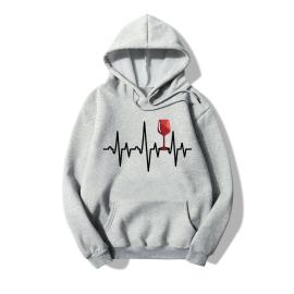 Heart Rate Print Fleece Hooded Sweatshirt Nihaostyles Wholesale Clothing NSYAY80786