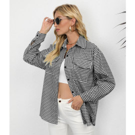 Houndstooth Print Single-breasted Shirt Coat Nihaostyles Wholesale Clothing NSJC80869