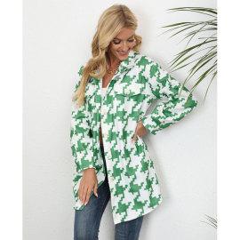 Houndstooth Print Woolen Coat Nihaostyles Wholesale Clothing NSJC80859