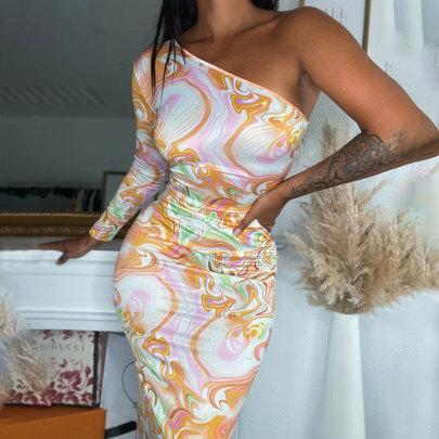 Print Slanted Shoulder Long Sleeve Slim Dress Nihaostyles Clothing Wholesale NSJIM80784