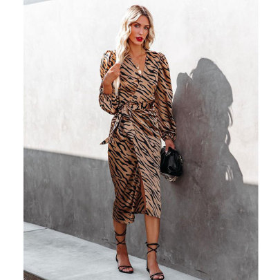 Zebra Print Slim-fit Tie Long-sleeved Dress Nihaostyles Clothing Wholesale NSJIM80856