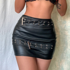 Women's Double Belt Leather Short Skirt Nihaostyles Clothing Wholesale NSRUI79829