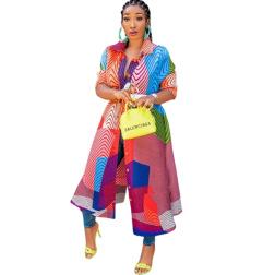 women's long-sleeved lapel pit strip loose printing dress nihaostyles clothing wholesale NSMFF79835