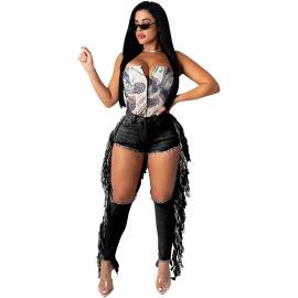 Women's Broken Hole Fringed Jeans Nihaostyles Clothing Wholesale NSMFF79837
