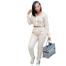 Women's Solid Color Hoodie And Pants Suit Nihaostyles Clothing Wholesale NSMFF79840