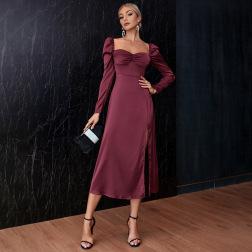 women's square neck bubble long sleeve slit mid-length tube top dress nihaostyles clothing wholesale NSWX79848