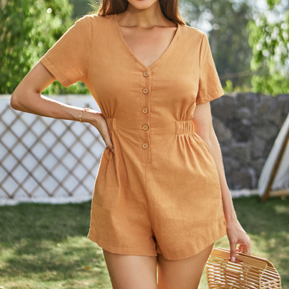 Women's V-neck Solid Color Breasted Jumpsuit Nihaostyles Clothing Wholesale NSWX79854