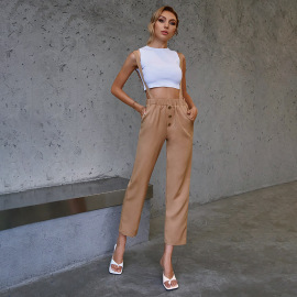 Women's Straight Leg High Waist Trousers With Shoulder Straps Nihaostyles Clothing Wholesale NSWX79857