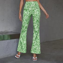 Women's Graffiti High Waist Printing Bootcut Trousers Nihaostyles Clothing Wholesale NSWX79858