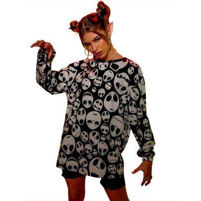Women's Skull Print Loose Sweatshirt Nihaostyles Wholesale Halloween Costumes NSJM79870