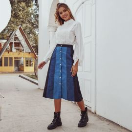 Women's Retro Stitching High Waist Washed Denim Skirt Nihaostyles Wholesale Clothing NSJM79872