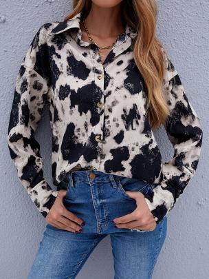 Women's Loose Long-sleeved Printed Chiffon Shirt Nihaostyles Wholesale Clothing NSJM79881
