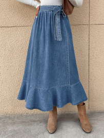 Women's High-waist Pleated Ruffled Package Hip Denim Skirt Nihaostyles Wholesale Clothing NSJM79883