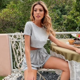 Women's Round Neck T-shirt Casual Shorts Two-piece Set Nihaostyles Wholesale Clothing NSJM79899