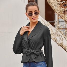 Women's V-neck Bow Tie Long-sleeved Shirt Cardigan Nihaostyles Wholesale Clothing NSJM79910