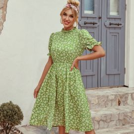 Women's French Retro Stand-up Collar Receiving Waist Ruffled Short-sleeved Floral Dress Nihaostyles Wholesale Clothing NSJM79911