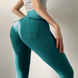 Women's High Waist Yoga Pants With Pocket Nihaostyles Clothing Wholesale NSXER79920