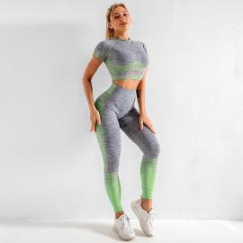 Knit Short-sleeved Top High-waist Hip-lifting Stretch Fitness Leggings Yoga Suit Nihaostyles Clothing Wholesale NSXER79922