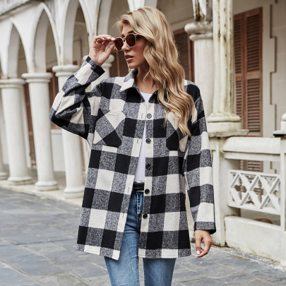 Autumn And Winter Women's Lapel Plaid Loose Casual Jacket Nihaostyles Wholesale Clothing NSJM79938