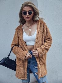 Autumn And Winter Women's Hooded Zipper Loose Woolen Coat Nihaostyles Wholesale Clothing NSJM79945