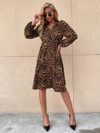 Women's Leopard Print Long-sleeved Mid-length Dress Nihaostyles Wholesale Clothing NSJM79948
