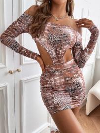 Women's Long-sleeved Off-shoulder Hollow Short Skirt Nihaostyles Wholesale Clothing NSJM79952