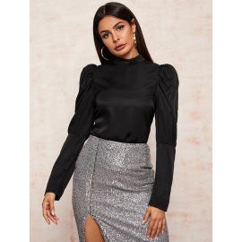 Women's Slim Puff Sleeve Half Collar Top Nihaostyles Wholesale Clothing  NSJM79955