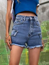 Women's High Waist Washed Dark Denim Shorts Nihaostyles Wholesale Clothing NSJM79960