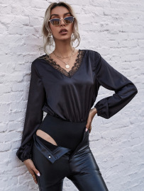 Women's V-neck Lace Long-sleeved Shirt Nihaostyles Wholesale Clothing NSJM79964