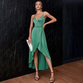 Women's V-neck Irregular Suspender Dress Nihaostyles Clothing Wholesale NSWX79966