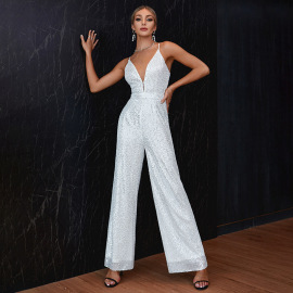 Women's Sleeveless Backless Pure Color Sequins Slim Fit Jumpsuit Nihaostyles Clothing Wholesale NSWX79968