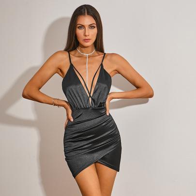 Women's V-neck Satin Sling Dress Nihaostyles Clothing Wholesale NSWX79971