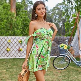 Women's Tube Top Cutout Shoulder Short-sleeved Dress Nihaostyles Clothing Wholesale NSWX79974