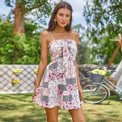 Women's Stitching Printed Bow Knot Wrapped Chest Dress Nihaostyles Clothing Wholesale NSWX79976
