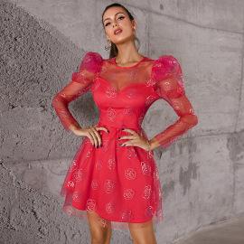 Women's Printed Net Gauze Puff Sleeve Dress Nihaostyles Clothing Wholesale NSWX79982