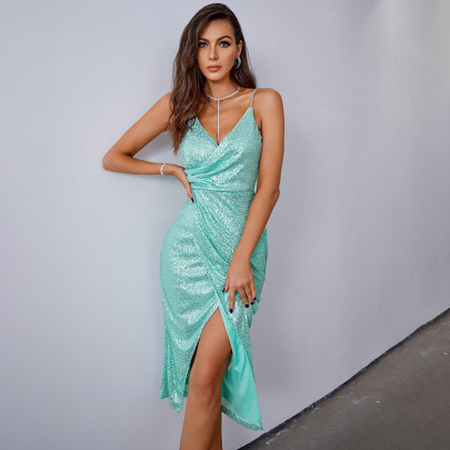 Solid Color Sequin Folds Slit Suspender Dress Nihaostyles Clothing Wholesale NSWX79983