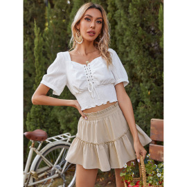 Summer Women's Pure Color Puffy Elastic Waist Pleated Cake Short Skirt Nihaostyles Wholesale Clothing NSJM80008