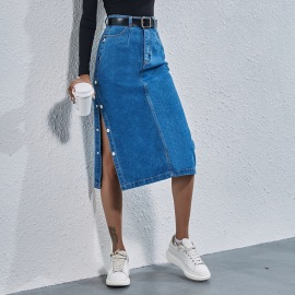 Women's High Waist Denim Button Slitted Skirt Nihaostyles Wholesale Clothing NSJM80012