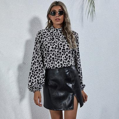 Autumn And Winter Women's Retro Leopard Print Half High Neck Long Sleeve Shirt Nihaostyles Wholesale Clothing NSJM80018
