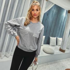 Autumn And Winter Women's Round Neck Fake Pocket Loose Long Sleeve Sweatershirt Nihaostyles Wholesale Clothing  NSJM80021
